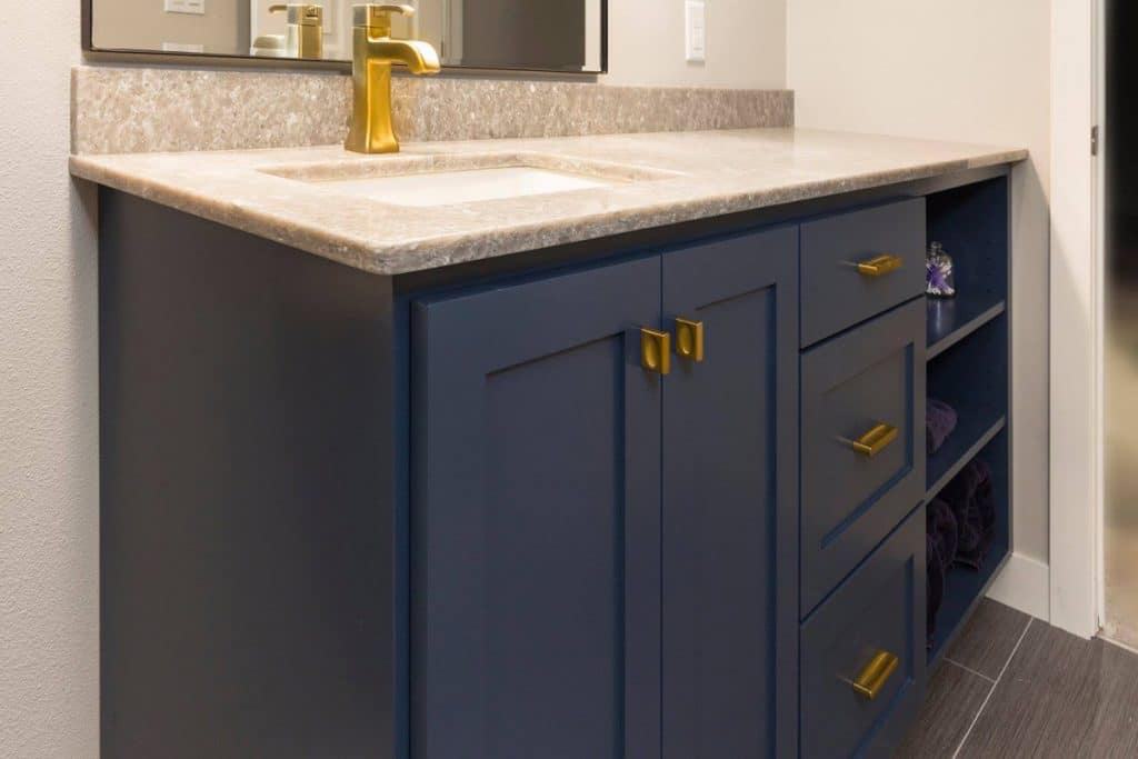 Clean, modern bathroom cabinets that will last for years in Fargo, ND.