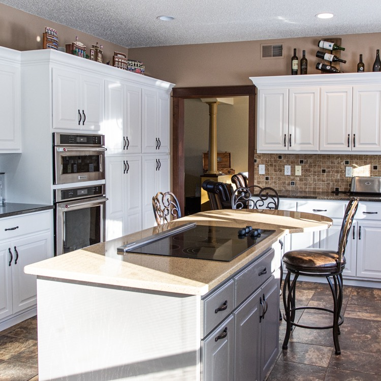 Bright and white kitchen cabinets remodel - Fargo, ND.